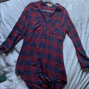 Burgundy Plaid T-shirt Dress